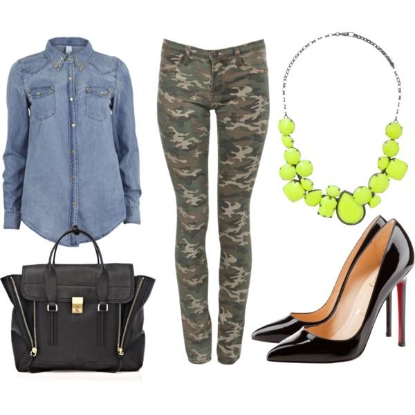 green-olive-skinny-jeans-camo-print-blue-light-collared-shirt-bib-necklace-black-shoe-pumps-black-bag-neon-fall-winter-lunch.jpg
