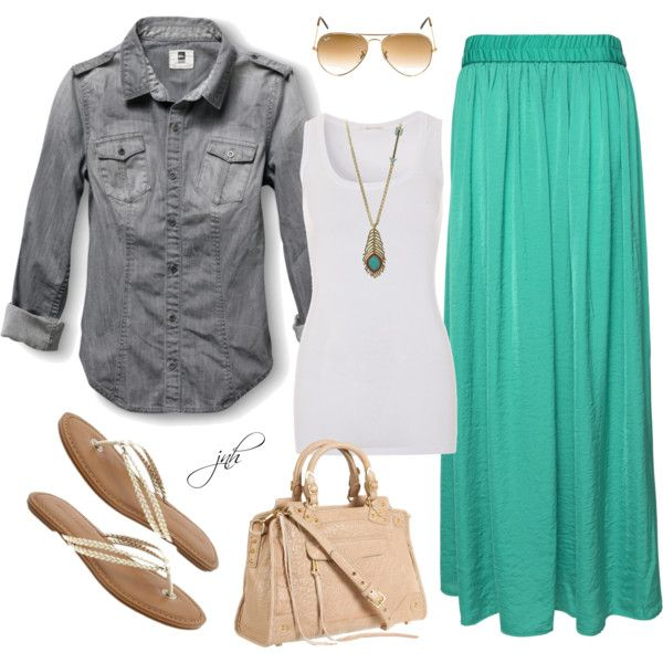 green-light-maxi-skirt-white-top-tank-necklace-pend-blue-light-collared-shirt-tan-shoe-sandals-tan-bag-sun-howtowear-fashion-style-outfit-spring-summer-weekend.jpg