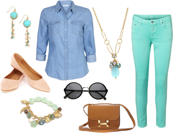 green-light-skinny-jeans-blue-light-collared-shirt-necklace-pend-earrings-sun-cognac-bag-bracelet-tan-shoe-flats-howtowear-fashion-style-outfit-spring-summer-lunch.jpg