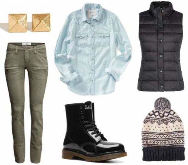 green-olive-skinny-jeans-blue-light-collared-shirt-black-vest-puffer-beanie-studs-black-shoe-booties-howtowear-fashion-style-outfit-fall-winter-weekend.jpg