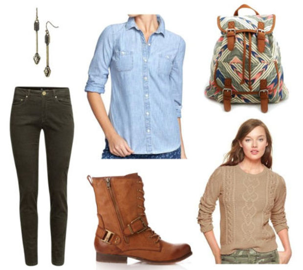 green-olive-skinny-jeans-blue-light-collared-shirt-tan-sweater-howtowear-fashion-style-outfit-fall-winter-cognac-shoe-booties-earrings-green-bag-pack-earrings-printed-weekend.jpg