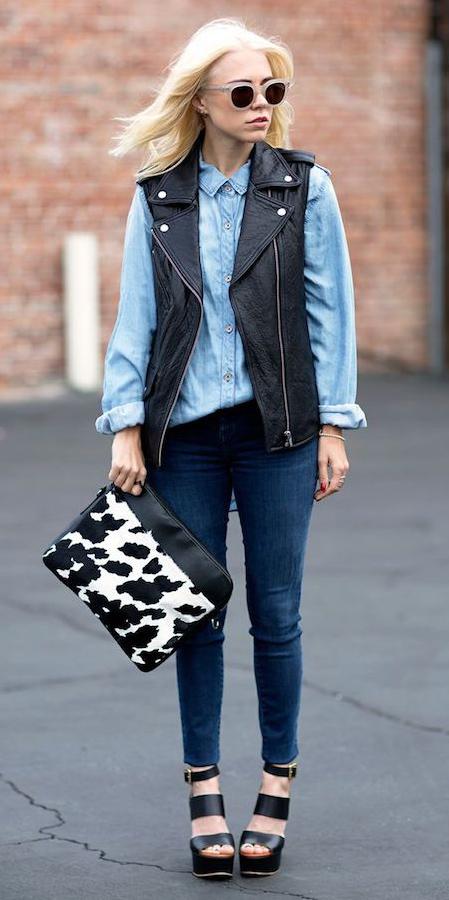 blue-navy-skinny-jeans-blue-light-collared-shirt-chambray-blonde-sun-black-vest-moto-black-shoe-sandalw-fall-winter-lunch.jpeg