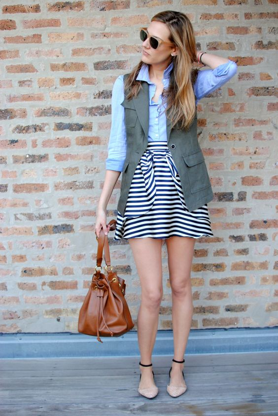 blue-navy-mini-skirt-stripe-blue-light-collared-shirt-green-olive-vest-utility-sun-blonde-cognac-bag-tan-shoe-flats-spring-summer-weekend.jpg