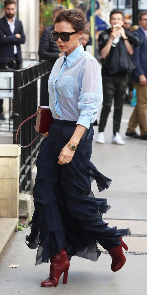 blue-light-collared-shirt-brun-bun-sun-burgundy-shoe-boots-burgundy-bag-tiered-victoriabeckham-blue-navy-maxi-skirt-fall-winter-work.jpg