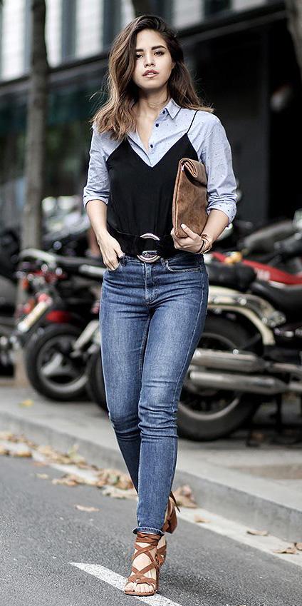 blue-med-skinny-jeans-blue-light-collared-shirt-belt-cognac-shoe-sandalh-layer-black-cami-fall-winter-hairr-dinner.jpg