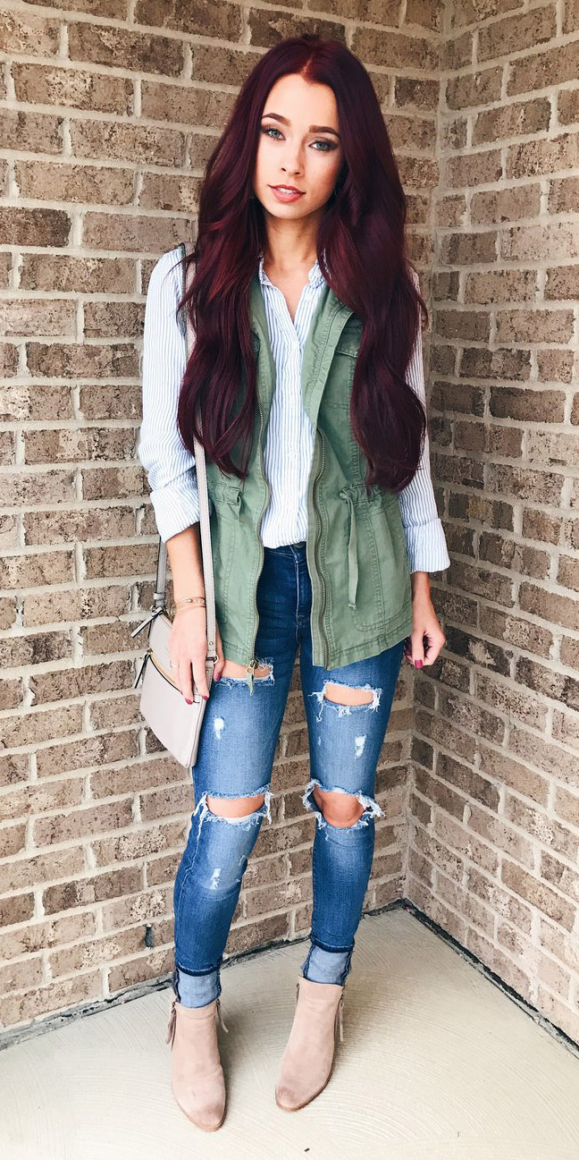 blue-light-collared-shirt-blue-med-skinny-jeans-tan-bag-tan-shoe-booties-green-olive-vest-utility-hairr-fall-winter-weekend.jpg