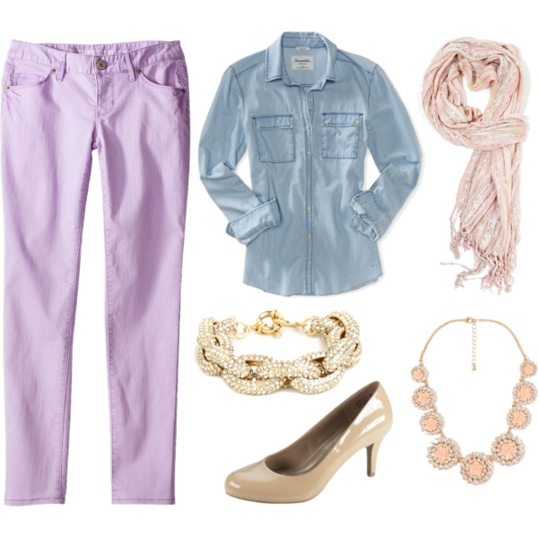 purple-light-skinny-jeans-blue-light-collared-shirt-bracelet-bib-necklace-tan-shoe-pumps-pink-light-scarf-howtowear-fashion-style-spring-summer-outfit-lunch.jpg