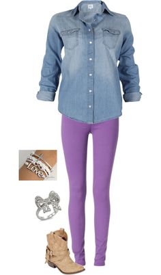purple-light-skinny-jeans-blue-light-collared-shirt-bracelet-ring-tan-shoe-booties-howtowear-fashion-style-spring-summer-outfit-weekend.jpg