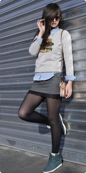 grayd-mini-skirt-blue-light-collared-shirt-layer-black-tights-blue-shoe-sneakers-grayl-sweater-sweatshirt-brun-fall-winter-weekend.jpg