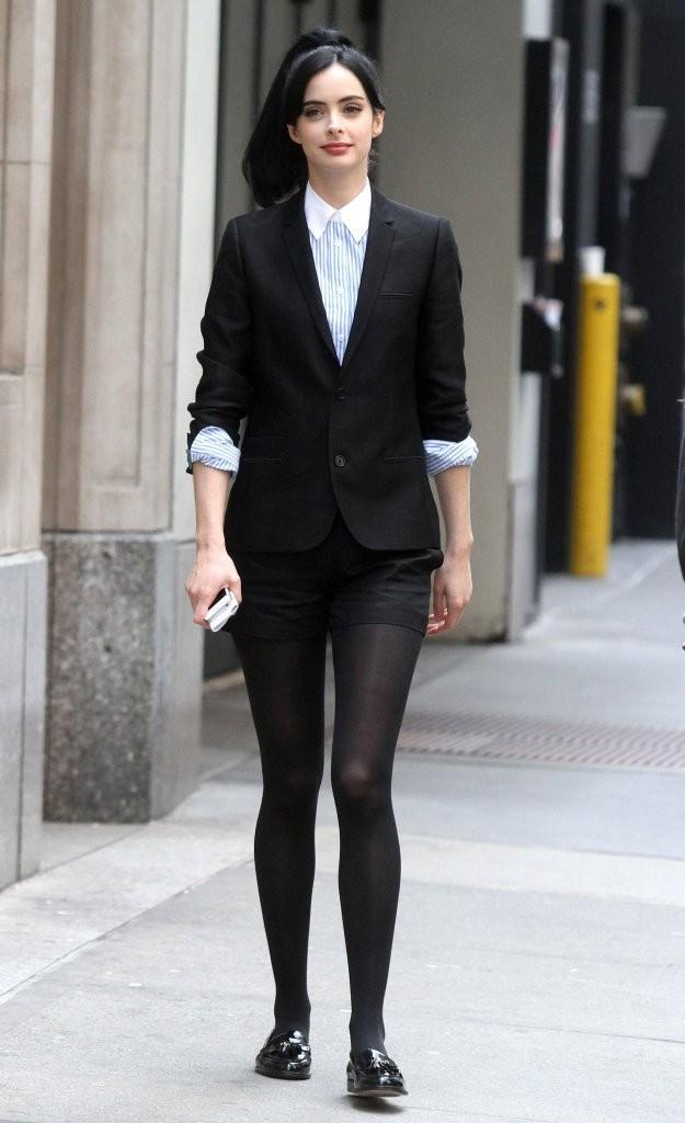 black-shorts-blue-light-collared-shirt-black-jacket-blazer-brun-pony-black-tights-black-shoe-loafers-krystenritter-fall-winter-lunch.jpg