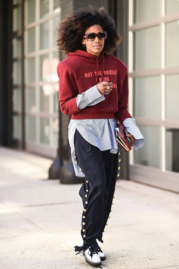 black-joggers-pants-blue-light-collared-shirt-burgundy-sweater-sweatshirt-hoodie-brun-sun-white-shoe-booties-combat-fall-winter-lunch.jpg
