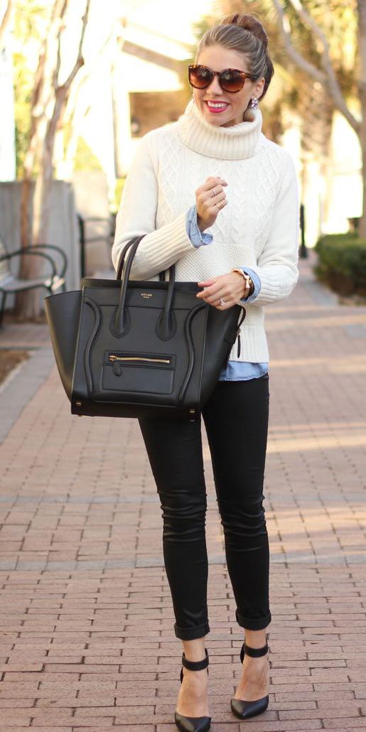 black-skinny-jeans-blue-light-collared-shirt-white-sweater-turtleneck-hairr-sun-bun-studs-black-bag-tote-black-shoe-pumps-fall-winter-lunch.jpg
