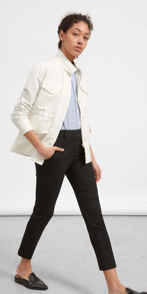 black-slim-pants-blue-light-collared-shirt-brun-pony-black-shoe-loafers-white-jacket-utility-spring-summer-weekend.jpg