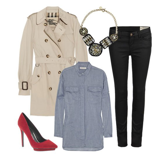 black-skinny-jeans-blue-light-collared-shirt-bib-necklace-red-shoe-pumps-white-jacket-coat-trench-fall-winter-lunch.jpg