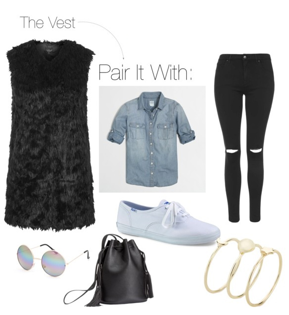 black-skinny-jeans-blue-light-collared-shirt-chambray-black-vest-fur-fuzz-black-bag-sun-bracelet-white-shoe-sneakers-fall-winter-weekend.jpg