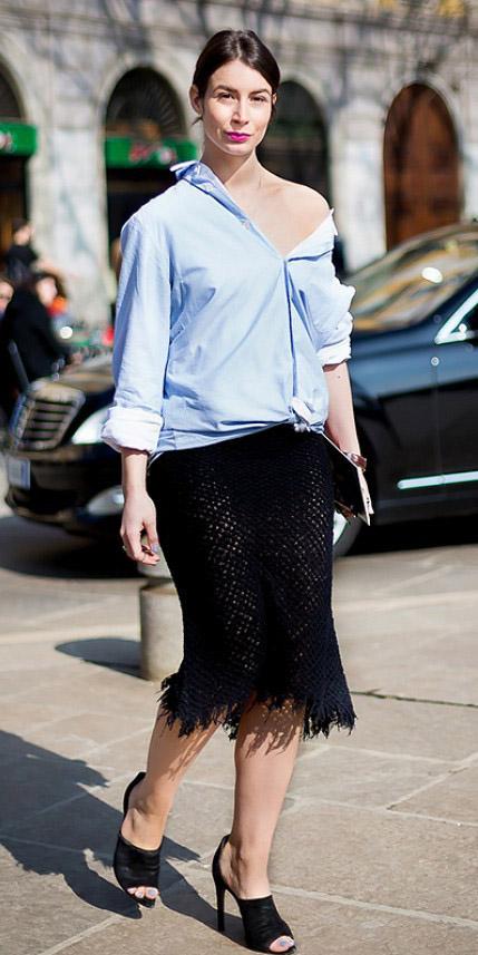 black-midi-skirt-blue-light-collared-shirt-bun-tied-black-shoe-sandalh-spring-summer-brun-dinner.jpg