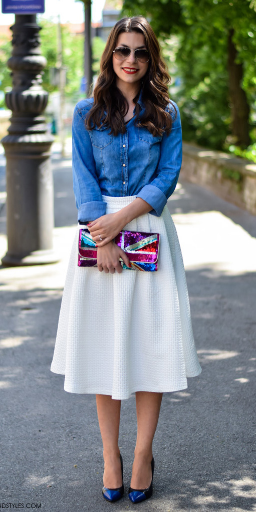 white-midi-skirt-blue-med-collared-shirt-sun-dashavukobratovic-chambray-wear-outfit-spring-summer-black-shoe-pumps-pink-bag-clutch-brun-work.jpg