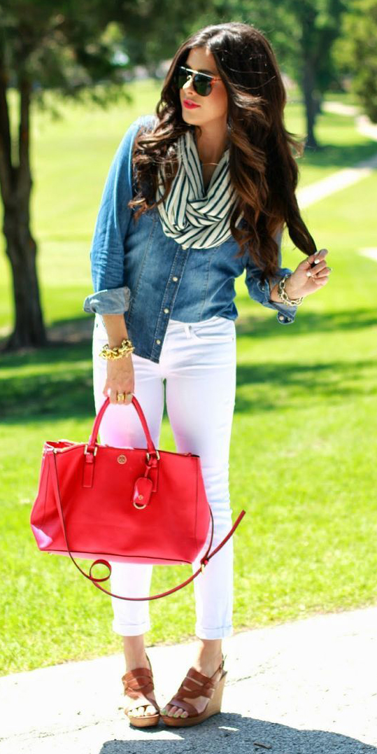 white-skinny-jeans-blue-med-collared-shirt-blue-navy-scarf-stripe-red-bag-sun-brown-shoe-sandalw-howtowear-fashion-style-outfit-spring-summer-lunch.jpg