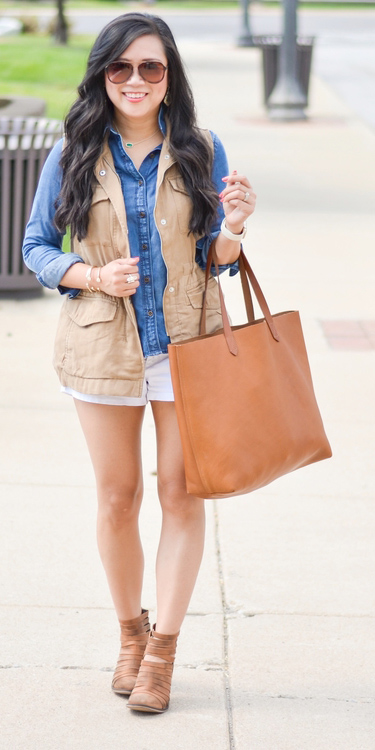 white-shorts-blue-med-collared-shirt-cognac-bag-tote-brun-sun-tan-vest-utility-cognac-shoe-booties-fall-winter-weekend.jpg