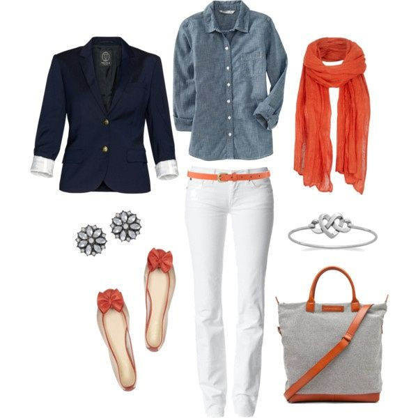 white-skinny-jeans-blue-med-collared-shirt-orange-scarf-belt-orange-shoe-flats-gray-bag-studs-blue-navy-jacket-blazer-howtowear-fashion-style-outfit-spring-summer-lunch.jpg