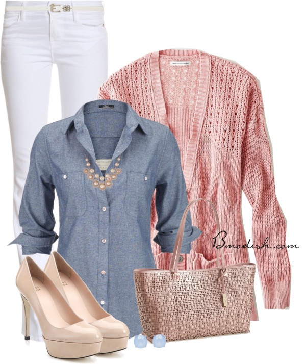 white-skinny-jeans-blue-med-collared-shirt-pink-light-cardiganl-bib-necklace-pink-bag-tote-tan-shoe-pumps-studs-howtowear-fashion-style-outfit-spring-summer-lunch.jpg