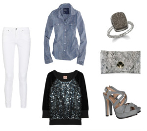 white-skinny-jeans-blue-med-collared-shirt-howtowear-fashion-style-outfit-gray-shoe-sandalh-black-sweater-sequin-gray-bag-clutch-fall-winter-dinner.jpg