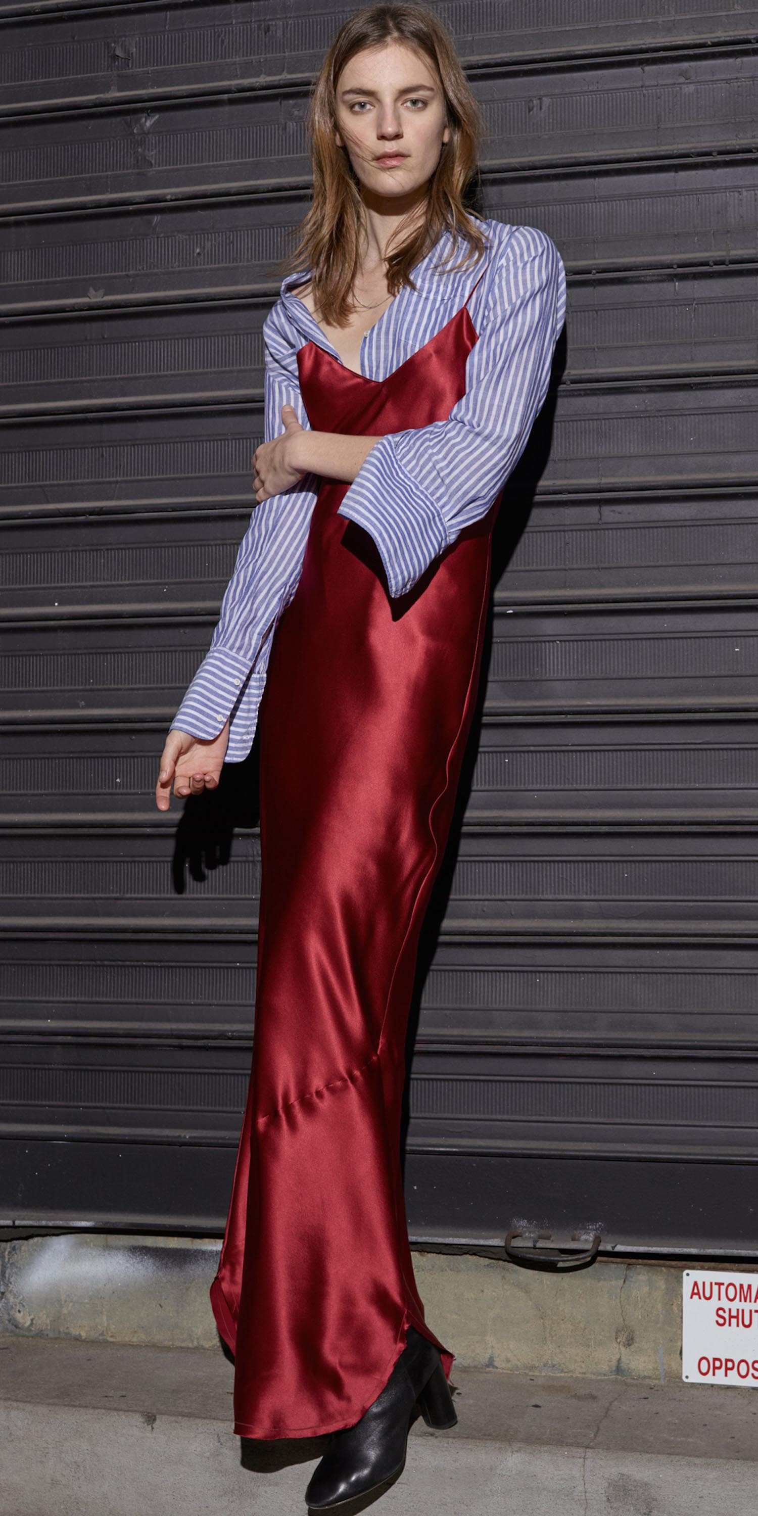 red-dress-slip-maxi-blue-med-collared-shirt-vertical-stripe-black-shoe-booties-howtowear-fall-winter-hairr-lunch.jpg