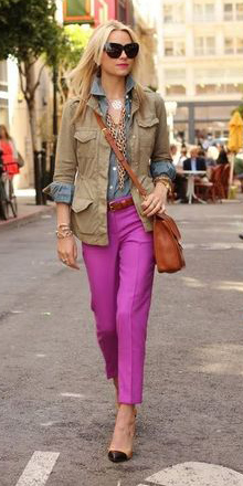 pink-magenta-slim-pants-blue-med-collared-shirt-green-olive-jacket-utility-chain-necklace-cognac-bag-blonde-tan-shoe-pumps-fall-winter-lunch.jpg
