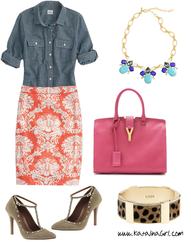 orange-pencil-skirt-blue-med-collared-shirt-pink-bag-hand-bracelet-print-howtowear-fashion-style-outfit-spring-summer-chambray-bib-necklace-jewel-tan-shoe-pumps-tstrap-cuff-work.jpg