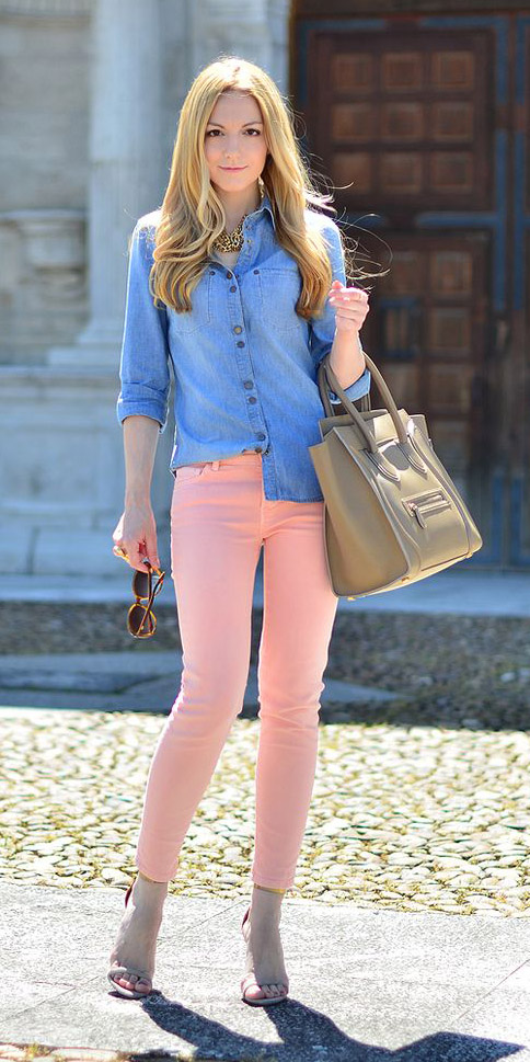 peach-skinny-jeans-blue-med-collared-shirt-chambray-tan-bag-necklace-spring-summer-blonde-lunch.jpg