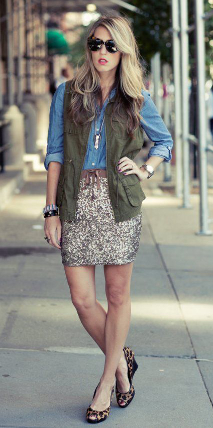 tan-mini-skirt-sequin-blue-med-collared-shirt-green-olive-vest-utility-blonde-cognac-shoe-pumps-leopard-print-fall-winter-lunch.jpg