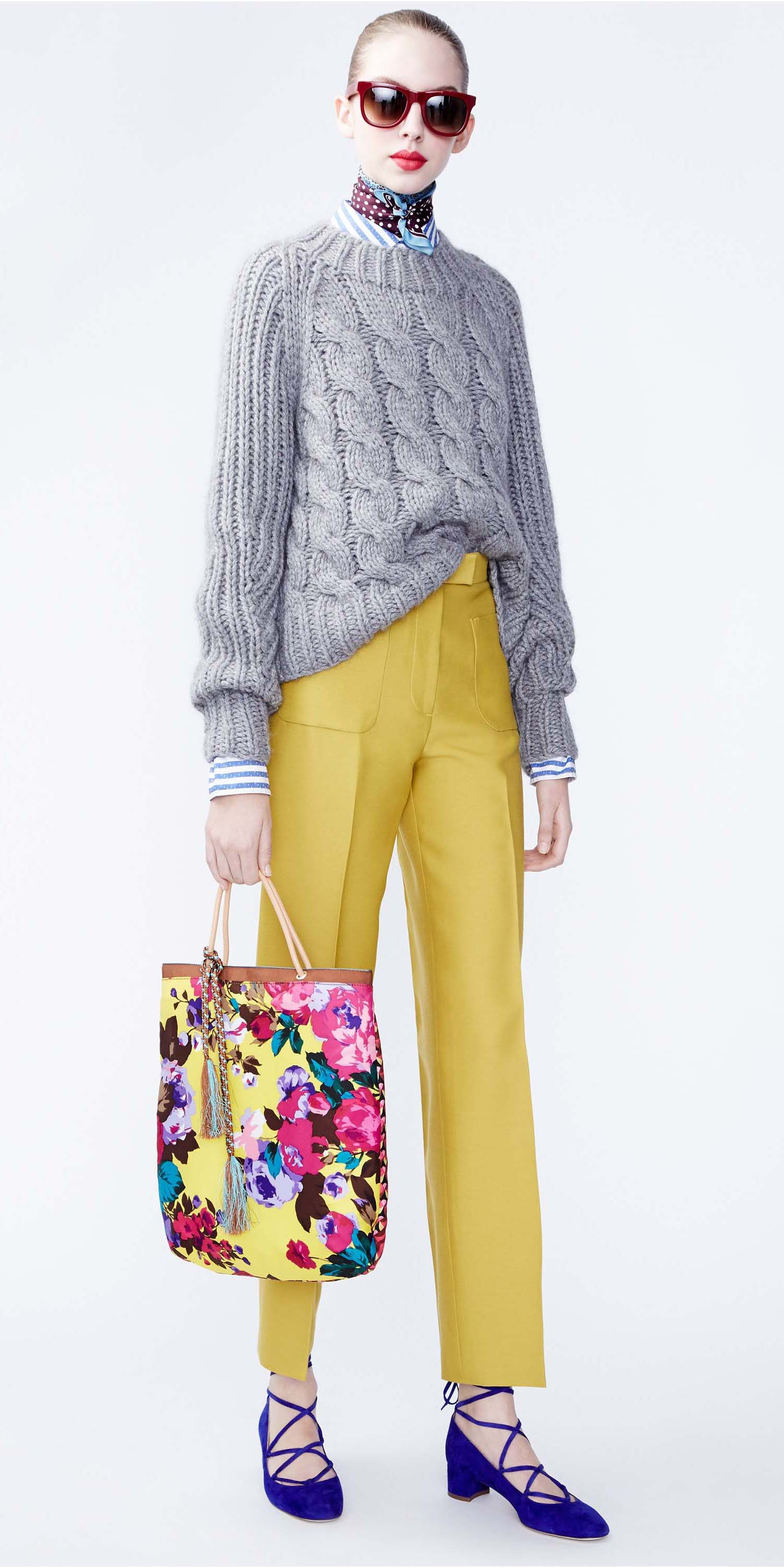 yellow-slim-pants-blue-med-collared-shirt-stripe-grayl-sweater-sun-yellow-bag-howtowear-cableknit-burgundy-scarf-neck-blue-shoe-flats-jcrew-outfit-fall-winter-hairr-lunch.jpg