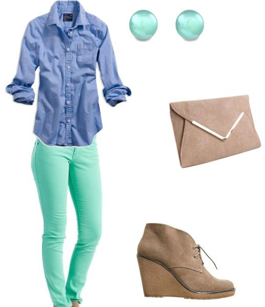 green-light-skinny-jeans-blue-med-collared-shirt-tan-shoe-booties-tan-bag-clutch-studs-howtowear-fashion-style-outfit-spring-summer-lunch.jpg