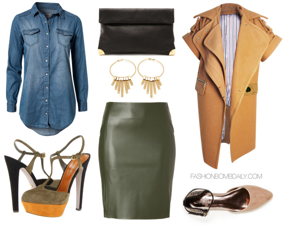 green-olive-pencil-skirt-leather-blue-med-collared-shirt-tan-jacket-earrings-green-shoe-pumps-fall-winter-lunch.jpg
