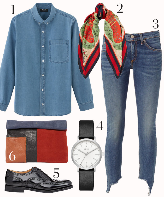 blue-med-skinny-jeans-blue-med-collared-shirt-red-scarf-howtowear-fashion-style-outfit-fall-winter-chambray-watch-red-bag-clutch-black-shoe-brogues-casualfriday-work-weekend.jpg