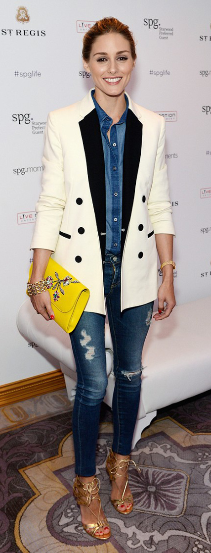 blue-navy-skinny-jeans-blue-med-collared-shirt-yellow-bag-clutch-bun-tan-shoe-sandalh-fashion-spring-summer-chambray-white-jacket-blazer-rip-oliviapalermo-hairr-lunch.jpg