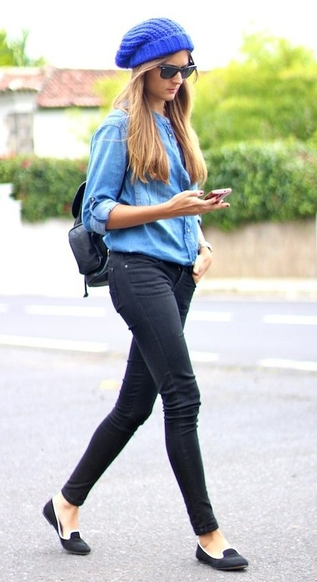 black-skinny-jeans-blue-med-collared-shirt-beanie-hairr-sun-black-bag-black-shoe-loafers-fall-winter-weekend.jpg