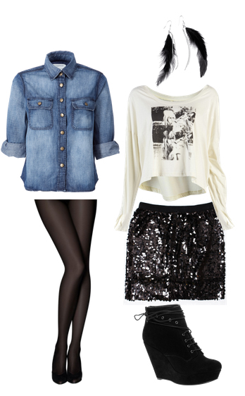 black-mini-skirt-white-tee-blue-med-collared-shirt-howtowear-fashion-style-outfit-fall-winter-sequin-graphic-chambray-black-tights-black-shoe-booties-earrings-lunch.jpg