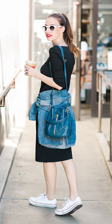 black-dress-blue-med-collared-shirt-blue-bag-pony-sun-white-shoe-sneakers-travel-tshirt-howtowear-fashion-style-outfit-spring-summer-hairr-weekend.jpg