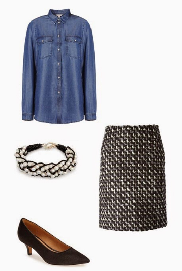 black-pencil-skirt-blue-med-collared-shirt-howtowear-style-fashion-fall-winter-black-shoe-pumps-tweed-bracelet-work.jpg