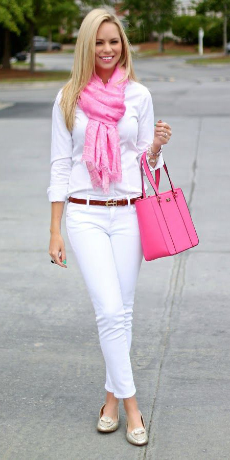 white-skinny-jeans-white-collared-shirt-pink-magenta-scarf-pink-bag-tote-belt-white-shoe-flats-howtowear-fashion-style-outfit-spring-summer-blonde-lunch.jpg
