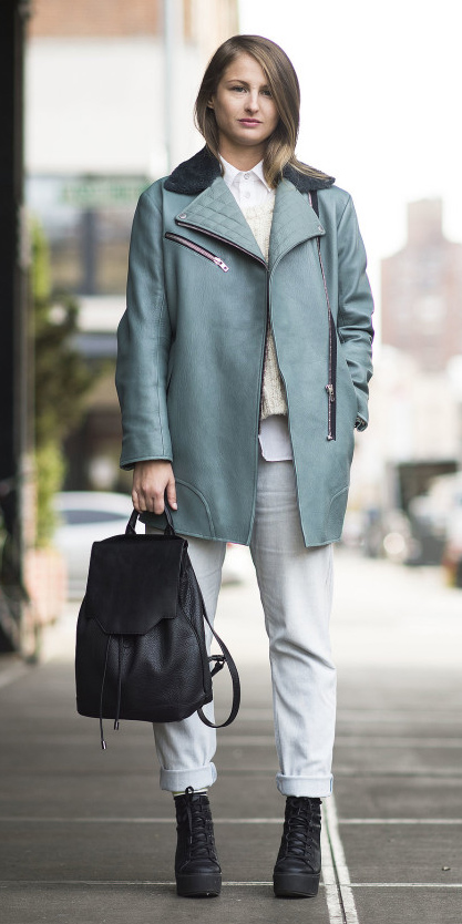 white-boyfriend-jeans-layer-white-sweater-white-collared-shirt-black-bag-pack-black-shoe-booties-blue-light-jacket-coat-fall-winter-blonde-lunch.jpg