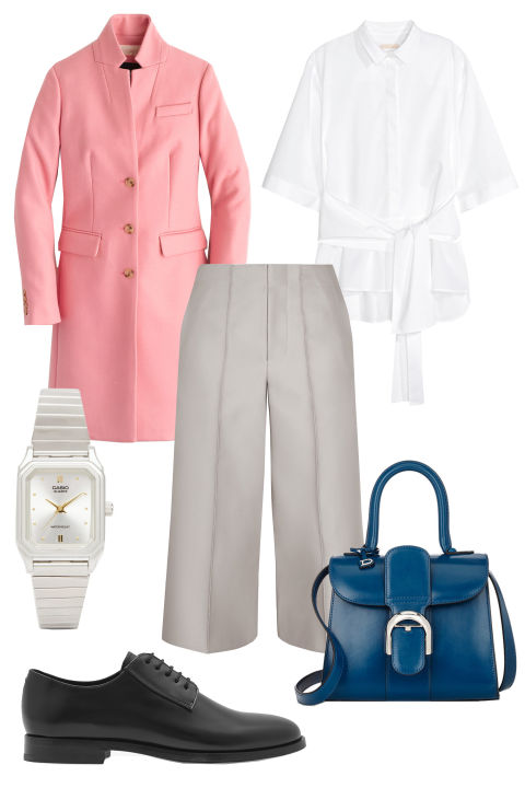 white-culottes-pants-white-collared-shirt-pink-light-jacket-coat-blue-bag-howtowear-fashion-style-outfit-fall-winter-watch-black-shoe-brogues-work.jpg