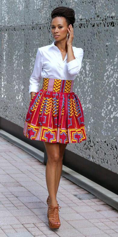 red-mini-skirt-print-flare-white-collared-shirt-hoops-cognac-shoe-sandalh-spring-summer-brun-dinner.jpg