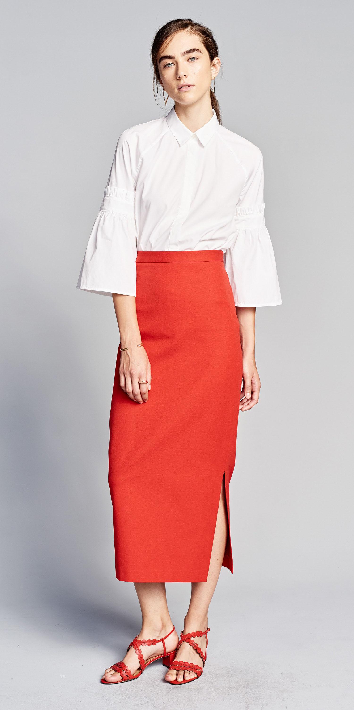 red-midi-skirt-white-collared-shirt-pony-hairr-red-shoe-sandals-spring-summer-lunch.jpg