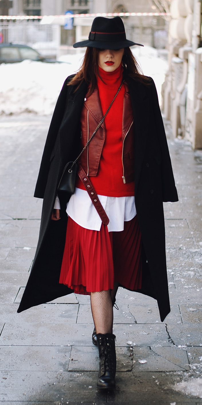 red-midi-skirt-pleated-white-collared-shirt-layer-red-sweater-turtleneck-red-jacket-moto-hat-black-jacket-coat-black-shoe-booties-fall-winter-hairr-lunch.jpg