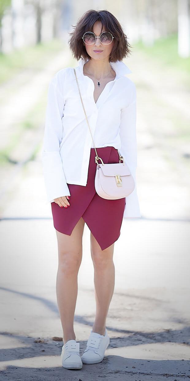 burgundy-mini-skirt-pink-bag-hairr-bob-white-shoe-sneakers-white-collared-shirt-spring-summer-weekend.jpg
