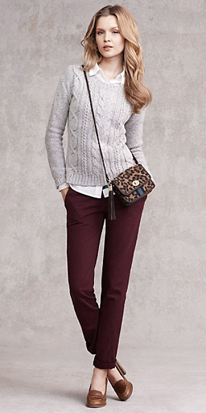 burgundy-chino-pants-white-collared-shirt-grayl-sweater-cognac-shoe-pumps-camel-bag-leopard-print-fall-winter-hairr-work.jpg
