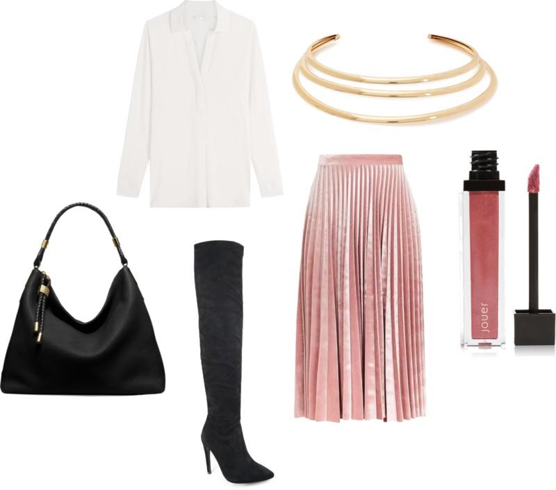 pink-light-midi-skirt-velvet-black-shoe-boots-black-bag-pleated-necklace-white-collared-shirt-fall-winter-work.jpg
