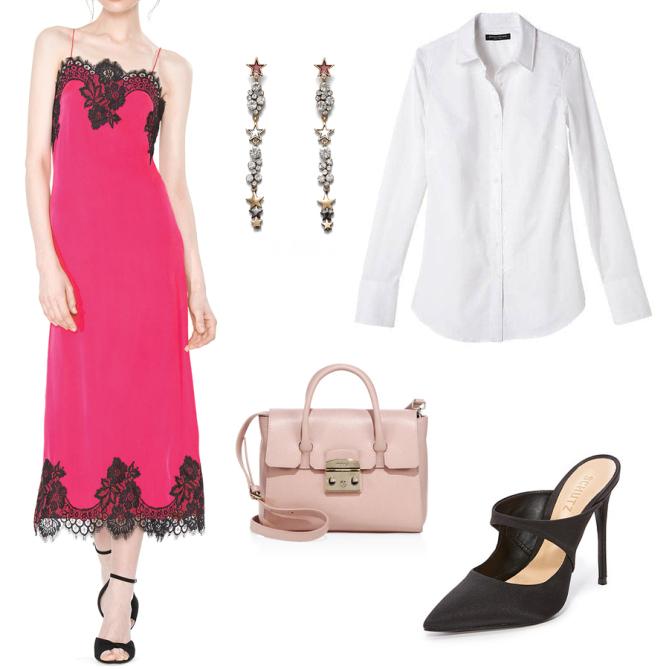 pink-magenta-dress-slip-lace-white-collared-shirt-earrings-pink-bag-black-shoe-pumps-howtowear-fall-winter-office-work.jpg